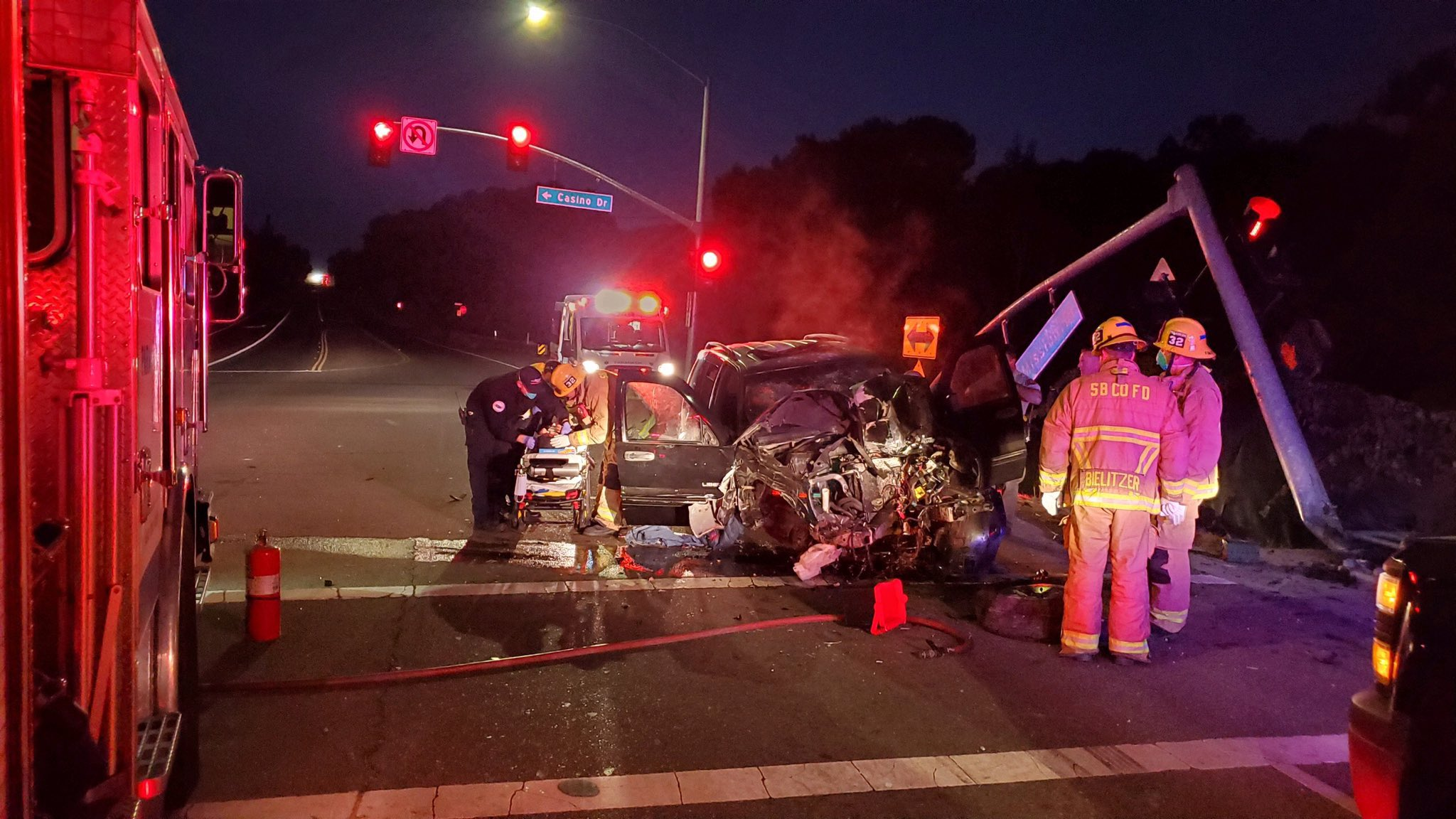 Two hospitalized after single-vehicle crash near Chumash Casino, fire officials say
