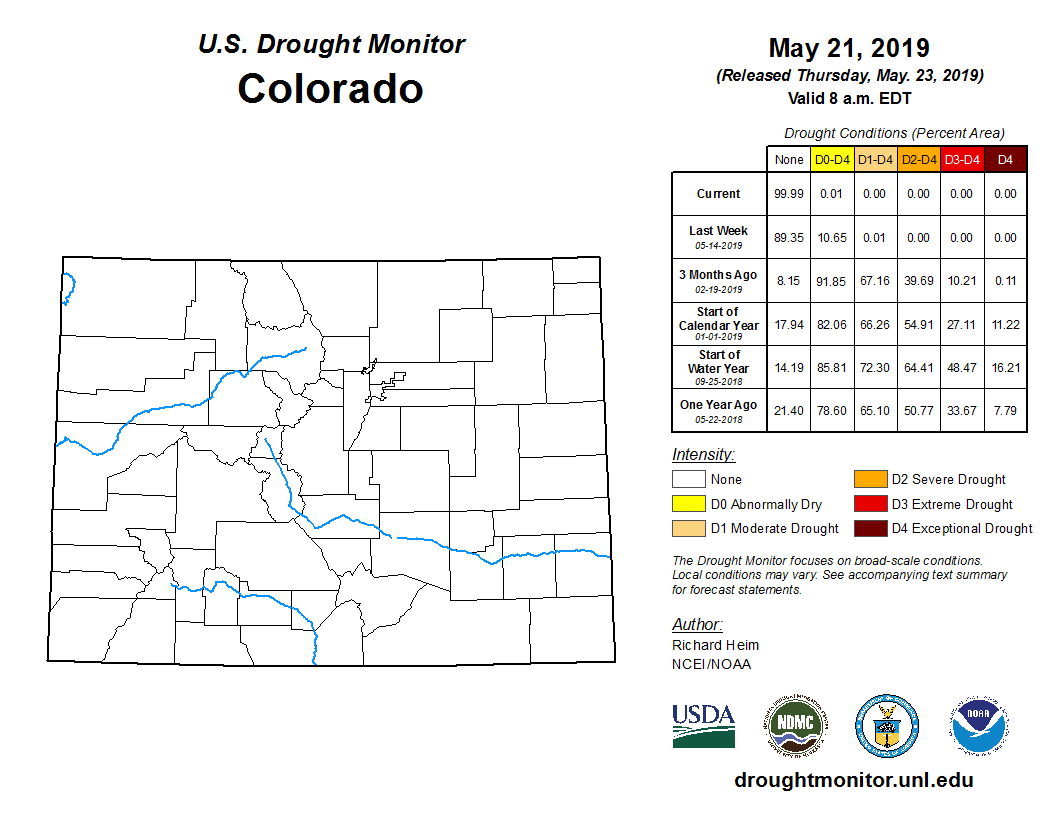 Colorado is 99.99% drought-free as of Thursday, but water ...